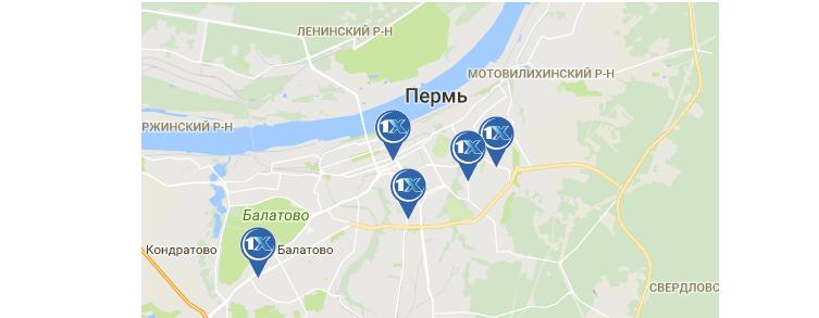 1xbet. Пермь: адреса ППС на карте