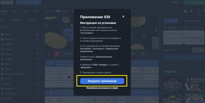 Окно загрузки программы 1вин айфон