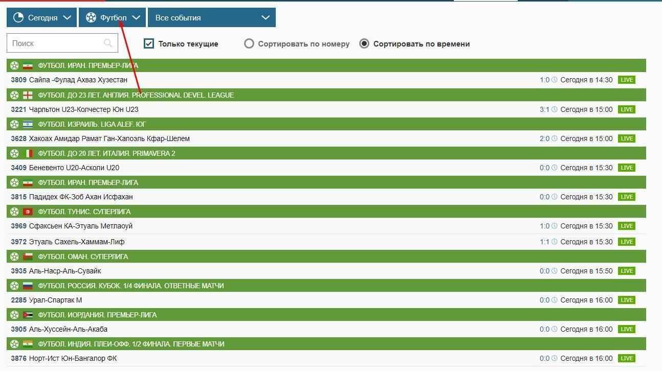 фильтрация спортивных дисциплин на сайте
