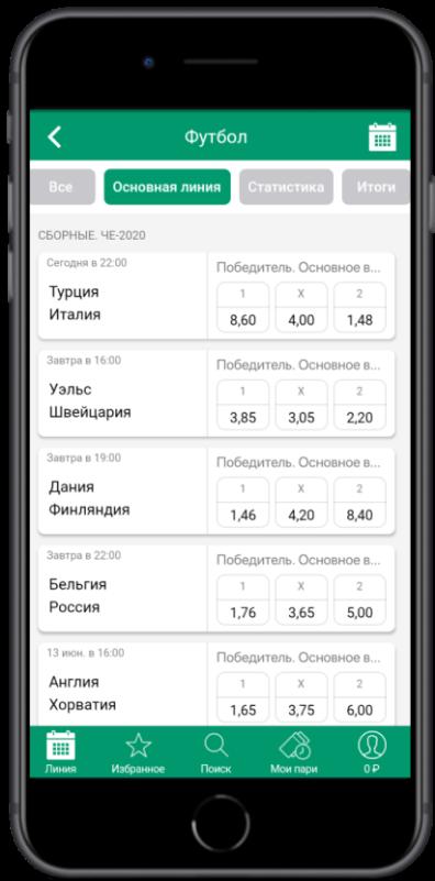 Ставки с приложения Ligastavok iOS